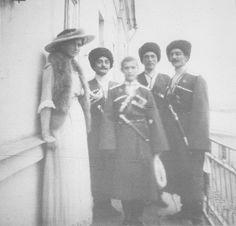 Maria and Alexei with Cossacks, 1916