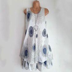 f3ea995a7a Ethnic Two Layers Cotton Print Dresses - White   XL