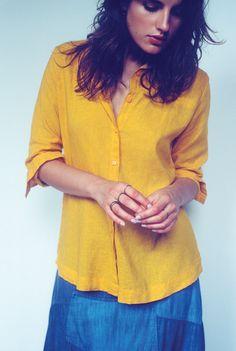 camisa linho {ref. 513337} saia jeans longa {ref. 513854} kit anéis slim {ref. 513606}