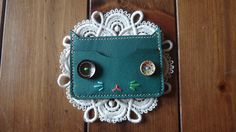 Emerald Colored Genuine Leather Cat Card Wallet by KimmysCraft
