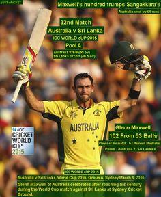 ICC WORLD cUP 2015:  Australia v Sri Lanka, World Cup 2015, Group A, Sydney, March 8, 2015  Maxwell's hundred trumps Sangakkara's