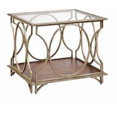 Enjoy the effortless elegance this Alchemy end table brings into your home. With a rich golden metallic finish and warm wood tones, this end table is beautiful and timeless.