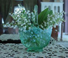 Bellas Rose Cottage: Fenton Lily of the Valley basket vase.