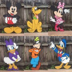 Wooden Set of 6 Mickey Mouse Clubhouse Character Cutouts - Mickey Mouse Clubhouse Birthday Party - First Birthday - Mickey Mouse Party -Prop