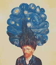 Paintcollar:de hairednacht available as Poster prints, Framed Poster and Art Prints|vincent,van gogh,impressionism,hair,trees,blue,night,starry night,stars,sky,portrait,painting