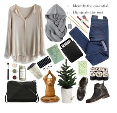 """""""Feel like we've been falling down like these autumn leaves. But baby don't let Winter come, don't let our hearts freeze."""" by shelbyox ❤ liked on Polyvore featuring H&M, Bare Escentuals, Yves Saint Laurent, Cheap Monday, Chicwish, Essie, J.Crew, rag & bone, Etiquette and Rick Owens"""