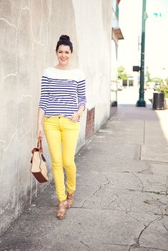 canary yellow & stripes
