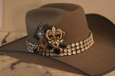 """Name: """"Everything but The Blues"""" This is the newest to The Rowdy Rose Vintage Embellished Hat Collection. I love you Miss Gordon!!!! Enjoy!!!!   cowboy hat, cowgirl hat, costume cowboy hat,rodeo, horses, horse, barrel racing, roping, western, cowboy, cowgirl, therowdyrose.com"""