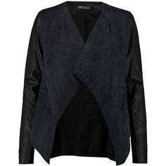 Vince Draped suede jacket (45.615 RUB) ❤ liked on Polyvore featuring outerwear, jackets, midnight blue, slim jacket, suede leather jacket, leather sleeve jacket, open front jacket and slim fit jacket