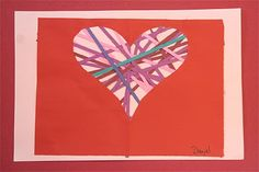 """I tell them to throw the heart away, and that really gets them confused :)  I go through the whole positive space/negative space speech and tell them we will be filling in the """"window"""" (or, the negative space) with shredded paper strips."""