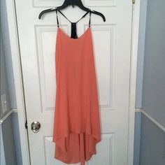 Honey Punch Size Small Coral Color Dress Faux Leather Strap, Hi-Low Dress, Coral-Peach Color. Very Chic Style. Size Small. Roomy Fit- Could Fit Size Medium Honey Punch Dresses High Low