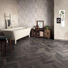 Un bagno in stile #abkemozioni abbina il pavimento DOLPHIN Coal Sestino al rivestimento DO UP Memory di ABK. #gres #porcellanato #ceramica #ceramics #tile #floor #decor #wall #bathroom