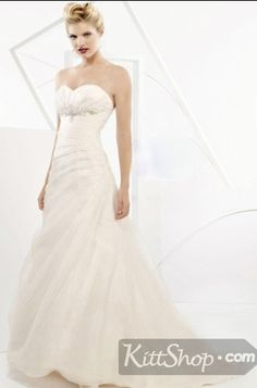 2011 Cheap Elegant New Style Ivory Strapless Sweetheart Organza Wedding Dress by kittshop.com