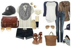 What to Wear to a Baseball Game | All Things Chic  I dont wear shorts but love the jersey shirt and the scarf