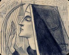 Jan Toorop, A nun playing a harp, 1919, Pencil and chalk on paper - Jan Toorop Research Center