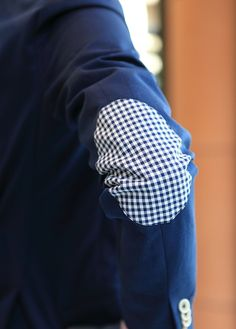 gingham patched elbows #suit #mens #fashion