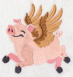 """When Pigs FlyProduct ID:J9323 Size:4.85""""(w) x 5.01""""(h) (123.2 x 127.3 mm)Color Changes:9 Stitches:29486Colors Used:7"""