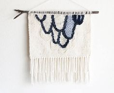 Blue Drip Scallops Woven Wall Hanging Tapestry Weaving by hellohydrangea | Handwoven Wall Tapestry Weaving Home Wall Decor Fiber Art