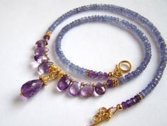 Faceted Natural Tanzanite and Amethyst Necklace by pinkowljewelry,