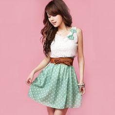Japan Korea Korean Fashion Style polka dot Dress White/Green Lace top  13.94