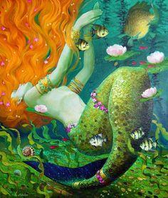 By Victor Nizovtsev Mythological Creatures, Mythical Creatures, Sea Creatures, Fantasy Mermaids, Mermaids And Mermen, Victor Nizovtsev, Mermaid Fairy, Mermaid Pictures, Fairytale Art