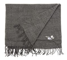 Grey and black wool cashmere scarf, with celeni logo. Black Wool, Black And Grey, Cashmere Shawl