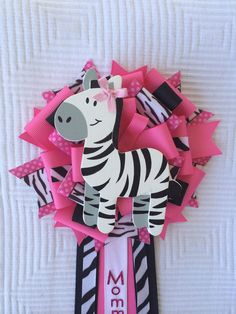 Girl Baby Shower Zebra Corsage Jungle Safari Pink by iogtreasures, $18.50