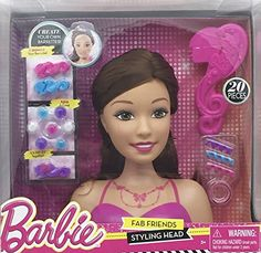 Barbie Fab Friends 20-Piece Styling Head Set - Brunette. Includes: Styling Head Brush 3 Hair Spirals 3 Barrettes 8 Gems & 4 Elastics. Create your own Barrettes! Create All Kinds of Cool Styles wit...
