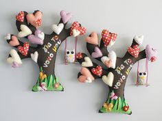 Wall decoration, TREE WITH HEARTS, made of fabric Dinosaur Stuffed Animal, Hearts, Wall Decor, Decoration, Fabric, Wall Hanging Decor, Decor, Tejido, Tela