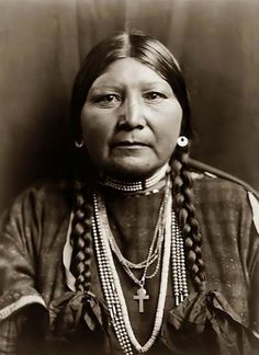"Nez Perce Woman, 1910. The Nez Perce Nation currently governs and inhabits the exterior boundaries of the reservation in Idaho. The Nez Perce name for themselves is Nimíipuu (pronounced [nimiːpuː]), meaning, ""The People."""