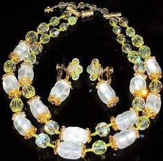 Vendome Stunning Yellow Crystal Amber Rhinestone Frosted Glass Necklace Set | eBay