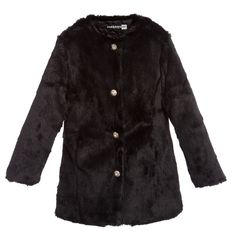 Girls Black Synthetic Fur Coat, Paesaggino, Girl