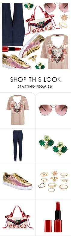 """Choker Tee & Holographic Sneakers"" by stacey-lynne ❤ liked on Polyvore featuring Topshop, Tory Burch, By Malene Birger, Kate Spade, Puma, Charlotte Russe, Gucci and Giorgio Armani"