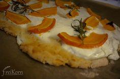 gluten free tarte flambé with pumpkin and goat cheese