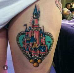 Castle in Frame. This princess' castle in the frame depicts the boundaries, as well as the beauty, that lies within a person. Walt Disney Castle, Disney Castle Tattoo, Disneyland Castle, Disney Tattoos, Cartoon Tattoos, Burg Tattoo, I Tattoo, Mysterious Tattoo, Pink Castle