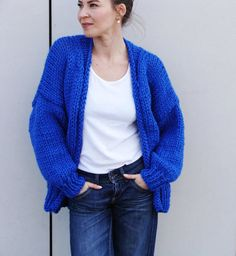 Pure Chunky Cardigan - Electric Blue - handmade oversize cardigan, chunky knit, loose fit, open style sweater