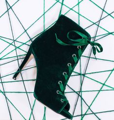SANTE stiletto peeptoe ankle boot in hot festive velvet. Festive, Essentials, Velvet, Ankle, Boots, Green, Crotch Boots, Wall Plug, Shoe Boot