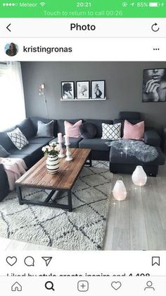 Natürlicher Stil im skandinavischen Stil - Decoracion de salas - Diy Room Decor Living Room Grey, Home Living Room, Apartment Living, Interior Design Living Room, Living Room Designs, Interior Livingroom, Apartment Interior, Blue And Pink Living Room, 1st Apartment