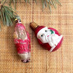 Vintage Santa Bulbs  Christmas Bulbs by JustSmashingDarling