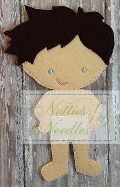 Felt Daniel Doll by NettiesNeedlesToo on Etsy Felt Books, Quiet Books, Clear Glue, Kids Board, Toddler Books, Felt Patterns, Felt Fabric, Felt Hearts, Felt Animals