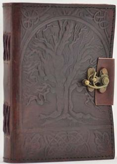 """Tree of Life Leather blank book Lock Celtic Book of Shadows BOS Journal 5"""" x 7"""""""