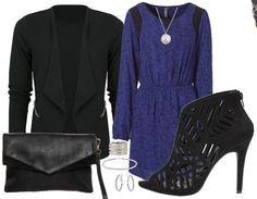 Une belle tenue de Noël! Trouvez les articles ici: http://www.stylefru.it/s580795 #bleu #sandales #blazer