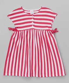 Look at this Zutano Fuchsia & White Stripe Tessa Tie Dress - Toddler on #zulily today!