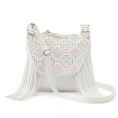 Candie's® Stella Perforated Fringed Crossbody Bag
