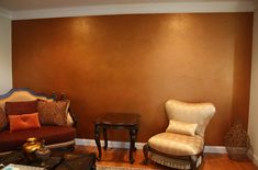Acton, MA - This metallic multi-colored accent wall was done in a beautiful living room. Accent walls are a great way to add a unique decorative finish to a s