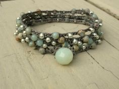 Driftwood bohemian style long beaded 5x wrap bracelet by sally tb