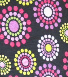 Micro Fleece Fabric-Pink & Green Circle On Brown