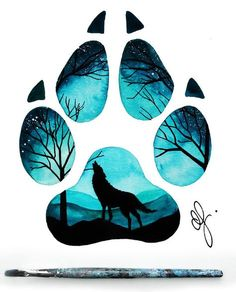 11 Ideas Wolf Drawing Tattoo Sketches For 2020 Wolf Painting, Painting & Drawing, Paw Print Drawing, Paw Print Art, Animal Drawings, Cute Drawings, Wolf Drawings, Anime Wolf, Art Sketches