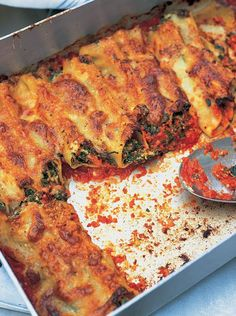 """Spinach & Ricotta Cannelloni  Pasta Recipes   Jamie Oliver Recipes. """"Repinned by Keva xo""""."""