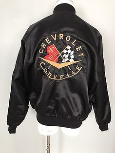 Vintage-CHEVY-CORVETTE-Black-Satin-Jacket-Mens-large